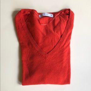 Zara | Burnt Orange Red V Neck Sweater | Large